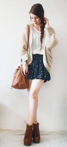 floral skirt, oversized knit, and boho shoes. zazumi.com