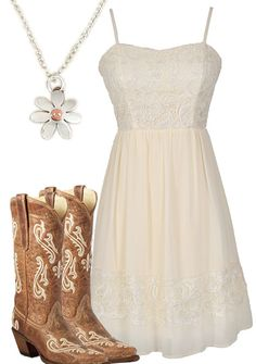 Country girl dresses - Simple Country Style Wedding Dresses With Boots Trends Ideas) Country Girl Outfits, Country Style Wedding Dresses, Country Girl Style, Country Fashion, Cowgirl Outfits, Country Girls, Cute Country Dresses, Cowgirl Fashion, Cowgirl Clothing