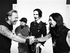 James hetfield (Metallica) , Fred Durst (Limp Bizkit), Marilyn Manson y Ozzy Ousborne