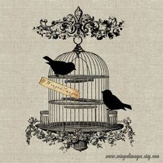 Vintage Bird Cage Digital Image Iron-On Transfer to Fabric (burlap, linen) Paper Prints (cards, tags) Cage Tattoos, Clock Tattoos, Watch Tattoos, Sleeve Tattoos, Antique Bird Cages, Etiquette Vintage, Images Vintage, Motifs Animal, Art And Illustration