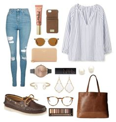 """""""only 3 classes today whoop :)"""" by jen-joanna ❤ liked on Polyvore featuring HEX, Topshop, Oliver Peoples, MANGO, Sperry, Kate Spade, Too Faced Cosmetics, Olivia Burton, Kendra Scott and NARS Cosmetics"""