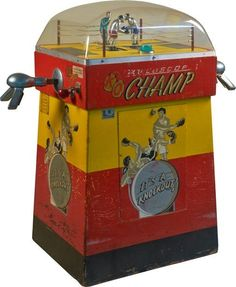 """10 Cent """"K. - Champ"""" Arcade Boxing Skill Game by International Mutoscope Corp., New York """"It's A Knock-Out! Arcade Game Machines, Vending Machines, Arcade Machine, Arcade Games, Cave Man, Man Cave Room, Retro Arcade, Vintage Games, Vintage Toys"""