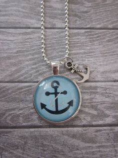 Blue Anchor Glass Pendant Necklace With by CharmedDesignsByJC, $19.95 Purchase at https://www.etsy.com/listing/108344131/blue-anchor-glass-pendant-necklace-with
