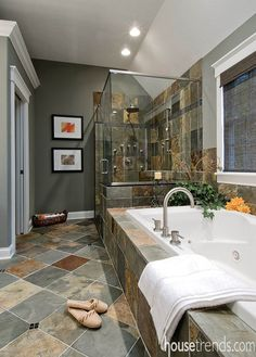 A master bathroom combines Zen-like qualities with modern features to create a truly relaxing space