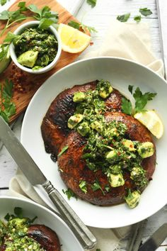 Portobello Steaks with Avocado Chimichurri!GRILLED Portobello Steaks with Avocado Chimichurri! The best vegan ribs recipe with jackfruit and sietan! Quick and easy to make, no oil. 20 Vegetarian BBQ Ideas to Inspire You to Grill This Weekend Portobello Steak, Portobello Mushroom Recipes, Grilling Recipes, Cooking Recipes, Barbecue Recipes, Barbecue Sauce, Cooking Tips, Cooking Classes, Parmesan Chips