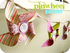 love it! pinwheels are super easy to make. i didn't use the dye that it asked to use around the edges though. and if you want to actually have them work and attach to a straw, you need to put a pin through all edges instead of gluing a button on top.