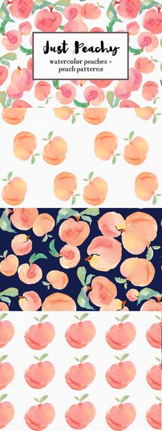 Watercolor Peach Patterns + Peach illustrations: DIY and add these adorable illustrations to wedding invitations and more!