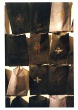 Depositário Encáustica e pigmentos secos; cola e pigmentos secos sobre sacos de tecido de algodão; pregos. Cada peça: 21 x 13 cm, perfazendo áreas de formas e dimensões variáveis. R$: 480,00