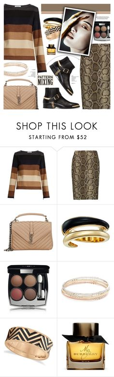 """Pattern mixing"" by cly88 ❤ liked on Polyvore featuring MaxMara, MICHAEL Michael Kors, Yves Saint Laurent, Michael Kors, Chanel, Kate Spade, Allurez, Burberry and Balmain"