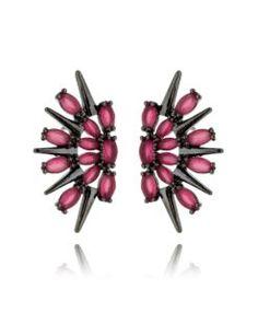 ear cuff moderno com zirconias rubi rodio negro