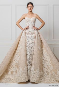 maison yeya 2017 bridal strapless sweetheart neckline full embellishment elegant glamorous princess ivory a line wedding dress royal train (02) mv -- Maison Yeya 2017 Wedding Dresses