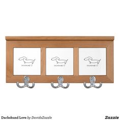 Dachshund Love Coat Rack  #cute #cartoon #dachshund #dog #pet #line #drawing #illustration #black #white #fun #love #heart #buy #sale #zazzle #friend #family #home #decor #kitchen #dining #interior #design #apartment #dorm #college #student