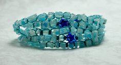 Lovely aqua mille fiori chips make up this 5 Wrap Coastal Bracelet.