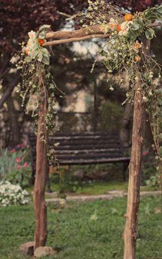 rustic outdoor altar arch | photo: Peach Plum Pear, Philadelphia