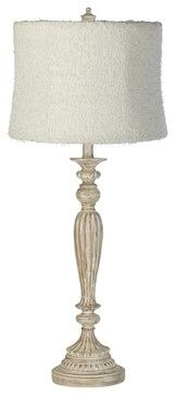 Creamy Coral Shade White Fluted Table Lamp - farmhouse - Table Lamps - Lamps Plus