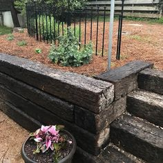 We Love Replacing Old Cinderblock With Railroad Ties It S Is Less Expensive And Adds Character