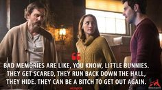 #Monroe: Bad memories are like, you know, little bunnies. They get scared, they run back down the hall, they hide. They can be a bitch to get out again.  More on: http://www.magicalquote.com/series/grimm/ #Grimm #grimmquotes
