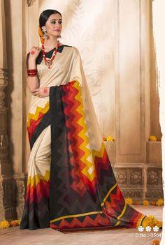 Printed Jacquard Bhagalpuri Khadi Silk Saree with matching Blouse  | eBay