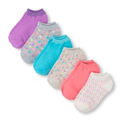 Girls Confetti Print And Shimmer Ankle Socks 6-Pack