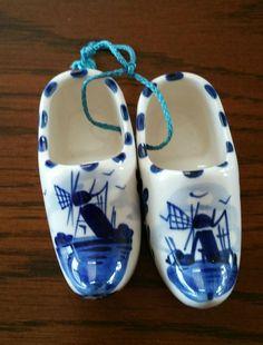 Vintage Delft Blue Porcelain Hand Painted Miniature Souvenir Clogs, Porcelain Windmill Miniature Clogs, Miniature Shoes by EmptyNestVintage on Etsy