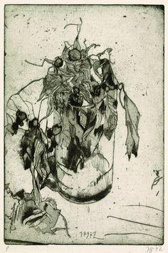 Janssen, Horst, Blumen im Glas, 1972.