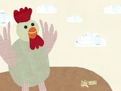 rooster collage card by: flying bathtub designs