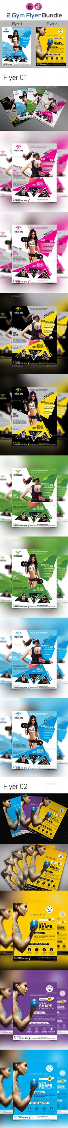 """Fitness Flyer Bundle V4 by aam360 FEATURES:Flyer01 Size: 8.5""""x11�20(Letter Size)Bleed: .25""""Four color variations (Cyan, Green, Yellow, Pink) Fully editable Adobe Ind"""