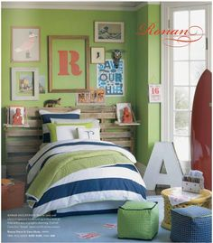 I love the color scheme of this boy's room.