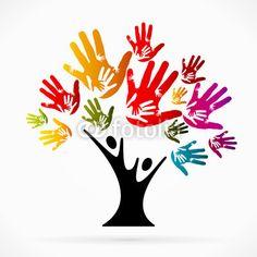 Muurtekening boom met handen