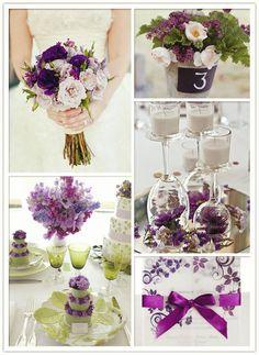 décoration vert/violet