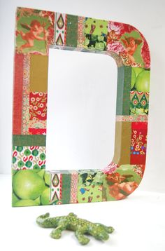 This XL extra large 3D papier mache letter is 50cm high and has been decoupaged with an assortment of @Sally Rippon Decopatch papers.
