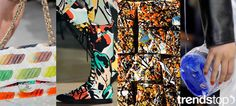 trendstop-ss15_art_prints2 ACCESSORIES: Over in accessories and footwear, white grounds provide a canvas-like base to set off colorful designs. Chanel's iconic quilted bag resembles a paint palette, while Vivienne Westwood hi-tops express a favela street art flavor. Claire Barrow works with a DIY feel, as seen in a surreal illustrated face that peeks out from a blue paint panel.