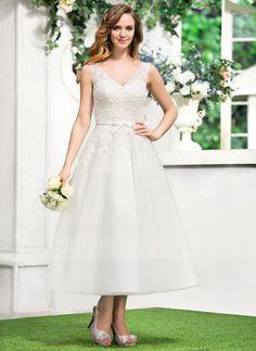 4890507209b A-Line Princess V-neck Tea-Length Satin Tulle Wedding Dress With Lace Bow(s)
