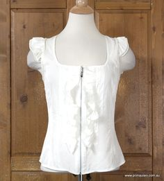 Sassy Off White Ruffle Cap Sleeve Blouse by CUE sz 8    Made out of comfortable fabric to wear  Comes with front zipper closing  And great ruffle style along the zip  Very gorgeous by CUE!