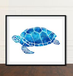 Watercolor Sea Turtle Print Decor Gift For Her
