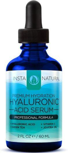 InstaNatural Acide Hyaluronique Sérum - Meilleur Anti -âge Soins de la peau produit pour le visage avec la vitamine C Sérum , la vitamine E et thé vert - Réduit les rides , ridules , & More - Pour une peau jeune et radieuse - 2 OZ