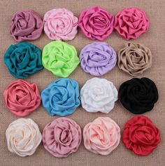 2.75 Inch Large Headdress Flower Brooches Accessories Rose Buds Satin Fabric Flowers For Hair Accessory 20Pcs/lot WH12 #Affiliate
