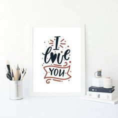 I Love You Wall Art. Gifts For Her. Gifts For Wife Excited to share the latest addition to my shop: I Love You Wall Art. Diy Gifts For Boyfriend, Gifts For Wife, Gifts For Her, Valentine Gift For Wife, Valentines Day, Romantic Gifts, Romantic Ideas, I Love You, Printables