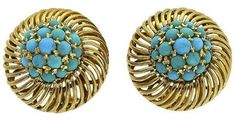 18K Yellow Gold Turquoise Clip Post Earrings