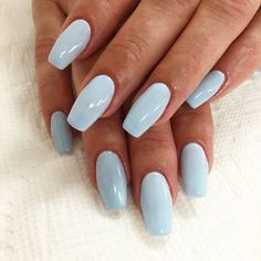 Acrylic Nails Coffin Short, Blue Acrylic Nails, Simple Acrylic Nails, Summer Acrylic Nails, Acrylic Nail Designs, Pastel Blue Nails, Blue Gel Nails, Spring Nails, Colourful Nails