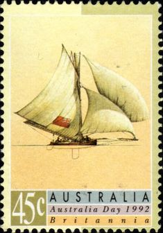 Postage stamp from Australia. 1992, depicting Sailing Ships of Yesteryear.  Australia day Britannia