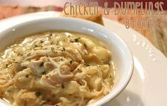 Crockpot Chicken and Dumplings with only 8 Weight Watchers Points + for a huge bowlful!  Makes me smile.