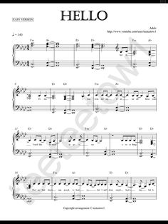 Piano Sheet Music — Hello - Adele (Piano Sheet)
