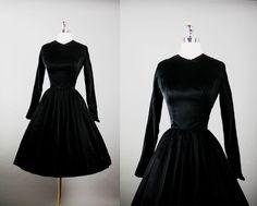 Vintage 1950s 50s Elegant SAKS  Silk Black by RedHouseVintages, $180.00
