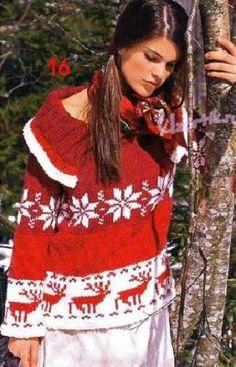 Пуловер с оленями - Описание вязания, схемы вязания крючком и спицами | Узорчик.ру