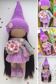 Handmade doll Tilda doll Fabric doll toy Interior doll Art doll violet colors Soft doll Cloth doll Baby doll by Master Olga Lobchenko