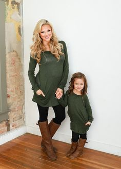 Little Girls Suede Elbow Patch Tunic w/ Buttons- Olive. Ryleigh Rue Clothing. Mommy & Me Matching Outfit Boutique.