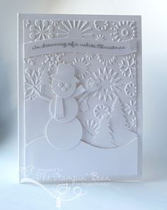 White-on-White Christmas Card - Cricut Snowman and trees. Cuttlebug snowflakes for background. Love the monochromatic look. Xmas Cards, Diy Cards, Holiday Cards, Greeting Cards, Homemade Christmas Cards, Homemade Cards, Wedding Card Templates, Wedding Cards, Snowman Cards
