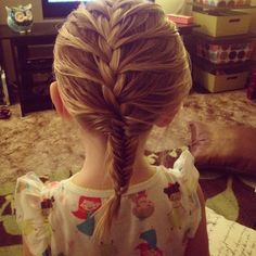 A French braid that turns into a fishtail. #toddler #girl #hair #french braid #fishtail