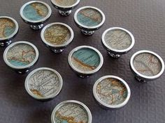 Travel theme.  Custom Atlas Vintage Map Drawer or cabinet knobs.  Be inspired!  Follow Rescued Relics @ http://www.pinterest.com/corescuedrelics/